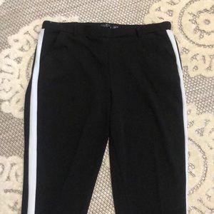 Black w/ White Stripe Ankle Pant